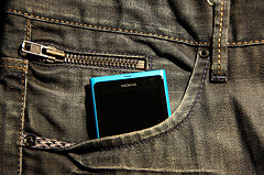 precarious nokia lumia in casual jeans pocket